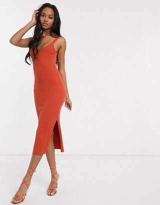 ASOS DESIGN rib knitted sleeveless midi dress