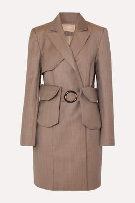 MATÉRIEL Belted Pinstriped Wool-blend Blazer - Gray