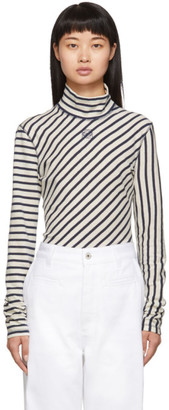 Loewe Navy and White Striped Long Sleeve Turtleneck