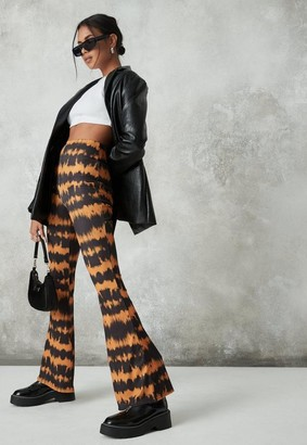 Missguided Orange Tie Dye Ribbed Jersey Flare Pants
