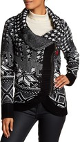 Desigual Multi Design Black And White Zip Down Cardigan