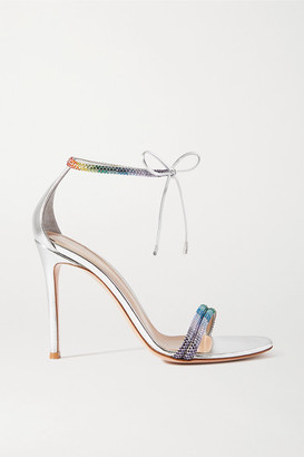 Gianvito Rossi 105 Crystal-embellished Metallic Leather Sandals - Silver