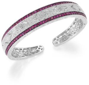 Macy's Ruby (1-3/4 ct. t.w.) and Diamond (1/10 c.t. t.w.) Cuff Bangle Bracelet in Sterling Silver