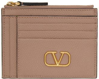 Valentino Pink VLogo Double Card Holder