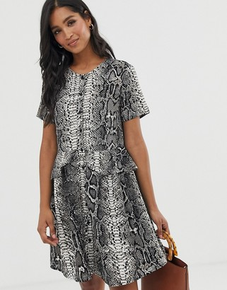 Vero Moda snake print button through smock dress