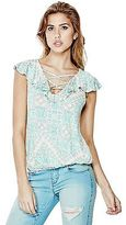 GUESS Women's Fanny Short-Sleeve Ruffle Top