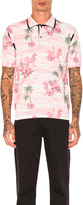 Junya Watanabe Thin Cotton & Wool Jersey Aloha Pattern Print Polo
