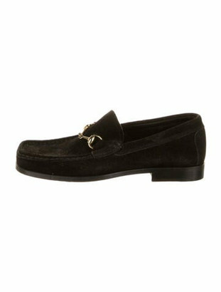 Gucci 1955 Horsebit Accent Suede Loafers Black