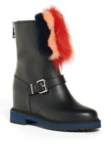 Fendi Women's Caroline Wedge Boot With Genuine Fur Trim
