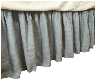"Superior Custom Linens Duck Egg Blue Bedskirt, Natural Linen Dust Ruffle, King 22"" Drop"