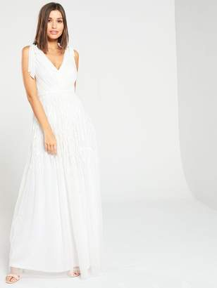 Frock and Frill Beaded Applique Bow V-Neck Maxi Dress - White