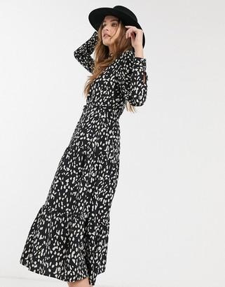 Topshop tiered midi shirt dress in black print