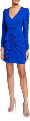 Clinton V-Neck Long-Sleeve Faux Wrap Dress