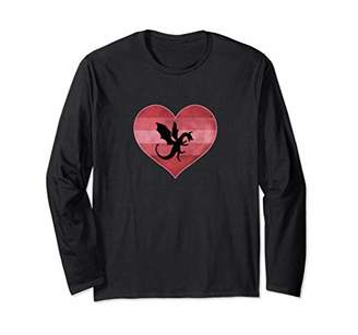 Dragon Optical Retro Valentines Day Heart Love Womens Gift Long Sleeve T-Shirt