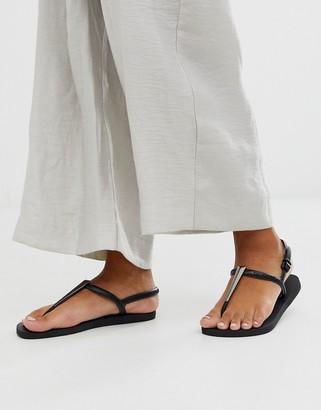 Havaianas metal toe post sandal in black