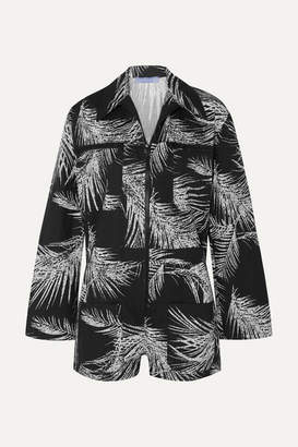 Paradised - Printed Cotton Playsuit - Black
