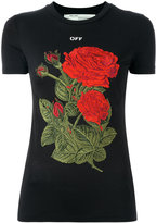 Off-White roses patch T-shirt - women - Cotton/Lyocell - XXS