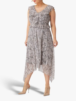Live Unlimited Snake Print Hanky Hem Dress, Mink