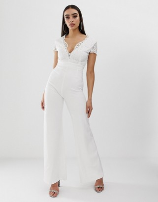 Club L London cap sleeve embroidery detail jumpsuit-White