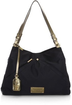 Eric Javits Page Metallic Leather-Trimmed Tote