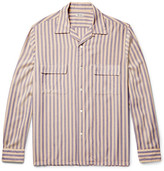 Camoshita Slim-fit Camp-collar Striped Voile Shirt - Blue