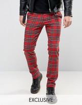 Reclaimed Vintage Inspired Skinny Plaid Pants