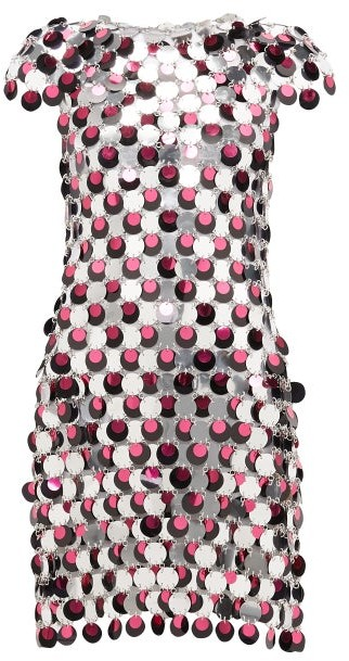 Paco Rabanne Sequinned Three-tone Chainmail Dress - Pink Silver