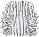 Caroline Constas striped ruffled sleeves blouse - women - Cotton/Nylon/Spandex/Elastane - XS