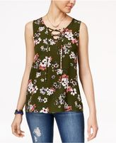 Hippie Rose Juniors' Lace-Up Tank Top