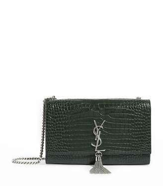 Saint Laurent Medium Croc-Embossed Kate Shoulder Bag