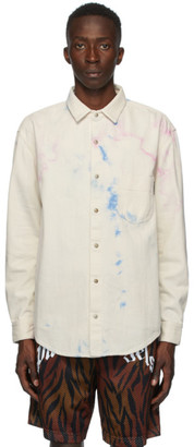 Palm Angels Off-White Denim Tie-Dye Shirt