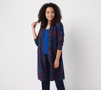 Susan Graver Petite Printed Novelty Knit Duster Cardigan and Tank Set