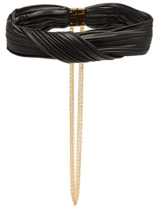 Givenchy Pleated Leather Choker - Black