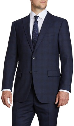 John Varvatos Navy Plaid Two Button Notch Lapel Wool Suit Separates Jacket