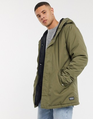 Levi's thermore padded check lined parka in olive night-Green