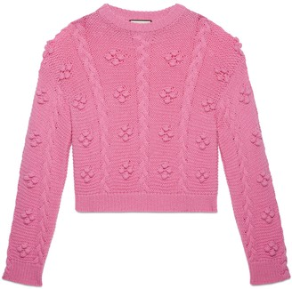 Gucci Cable knit wool alpaca crop sweater