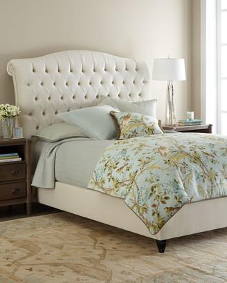 Haute House Harper Tufted Ivory Velvet King Bed