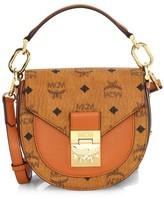 MCM Patricia Visetos Logo Saddle Bag