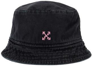 Off-White Bucket Hat in Black & Fuchsia | FWRD