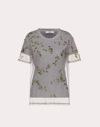 Valentino Embroidered Jersey And Tulle T-shirt Women Grey 100% Cotone L
