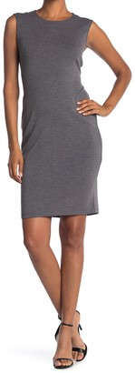 T Tahari Heathered Exposed Zip Sheath Dress