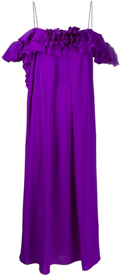Victoria Beckham Ruffle-Trim Shift Dress