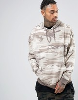 Asos Oversized Hoodie In Washed Camo