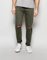 Asos Skinny Jeans In Khaki With Rips