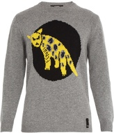 Fendi Leopard-intarsia wool-knit sweater