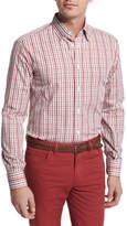 Brioni Plaid Cotton Sport Shirt, Red/Tan