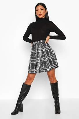 boohoo Boucle Jacquard Box Pleat Skater Skirt
