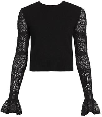 Alexander McQueen Ruffle Cuff Lace Sleeve Sweater