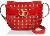 Tory Burch Gemini Link Cutout Small Suede Shoulder Bag