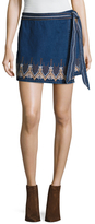 Free People Dream Away Embroidered Denim Mini Skirt